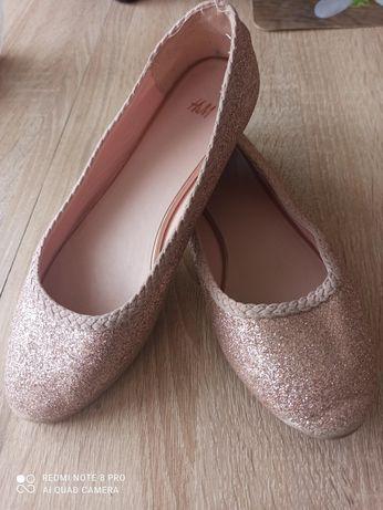 Baleriny brokatowe- różowe 34  h&m wkl 21 cm.