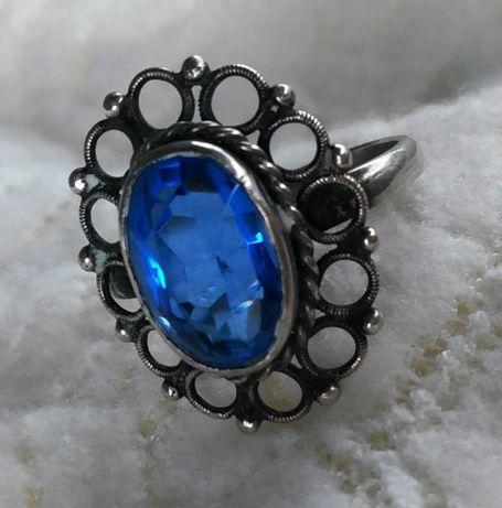 Кольцо винтажное с камнем сапфир серебро 875
