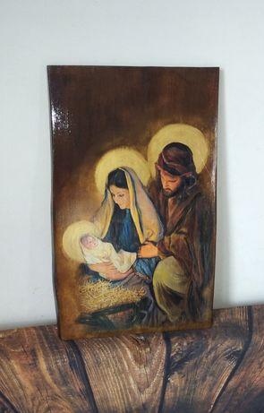 Obraz 32x50 na desce drewnie Święta Rodzina ślub rocznic grawer szopka