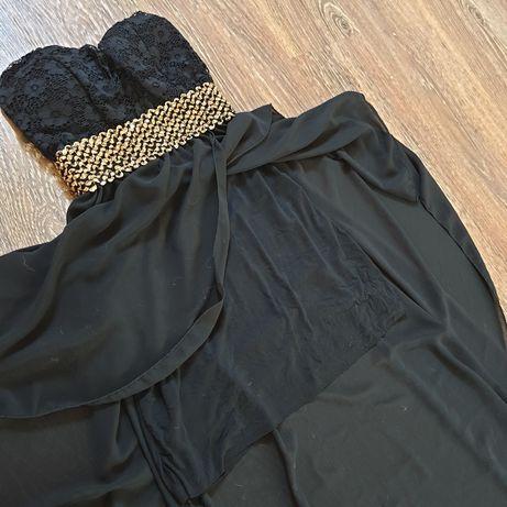 вечернее выпускное черное платье со шлейфом