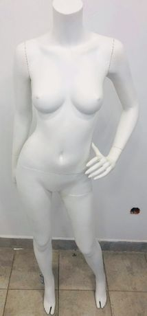 Manekin damski bez głowy stojący biały mat