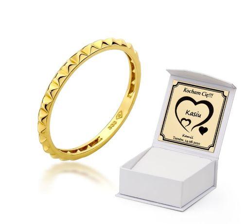 GRAWER Piękna Złota 333 Delikatna Obrączka Złoty Pierścionek