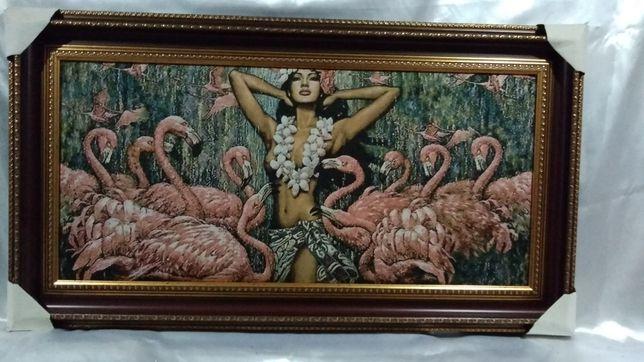 """Картина гобелен  """"Девушка и фламинго""""."""