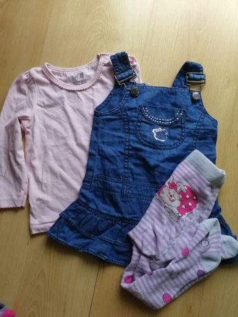 Zestaw r. 74, bluzka H&M, sukienka, rajstopy