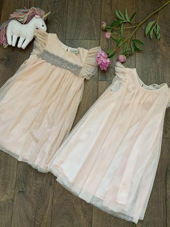 нежное нарядное платье next h&m с блестками 4-5л