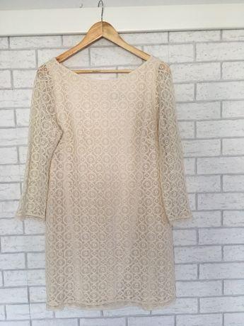 Biala / kremowa sukienka z koronką 42