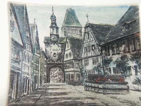 Grafika 1945 r. Rothenburg - cechowana - w oprawie. Antyk 100 % org.