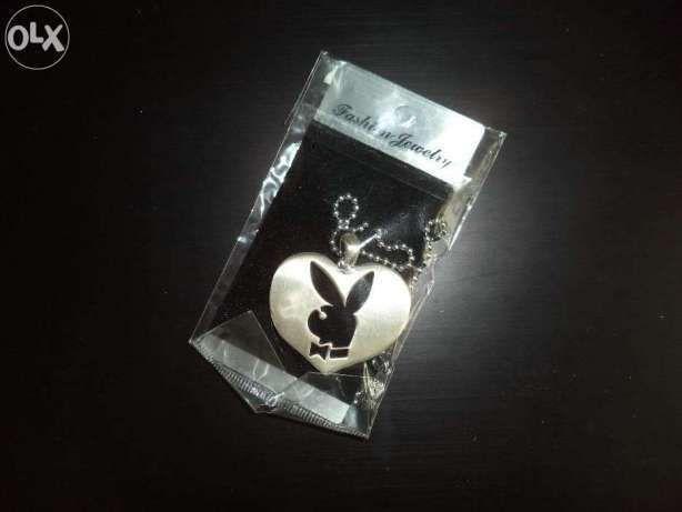 Подвеска на цепочке Сердце Плейбой с Кроликом