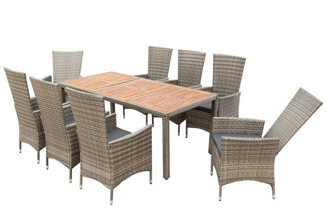 Meble ogrodowe komplet 8 osób Regulowane oparcie stół krzesła