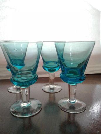 4 Copos pé vidro transparente, taça em Azul Turquesa-Arte Deco