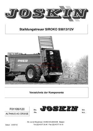 Katalog części Rozrzutnik obornika Joskin S5013/12V