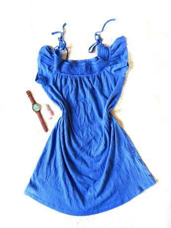 Sukienka niebieska sukienka off shoulder S H&M