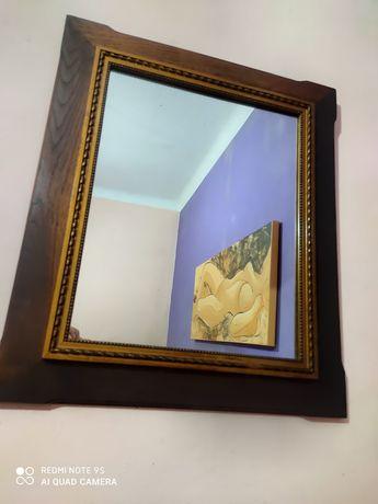 Espelho antigo aro em Madeira impecável