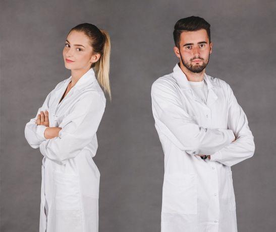 Fartuch kitel medyczny laboratoryjny lekarski ELANOBAWEŁNA bluza napy