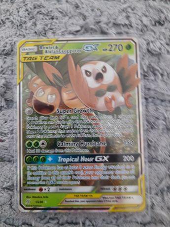 Karta pokemon Tag team GX Rowlet i Alolan Exeggutor