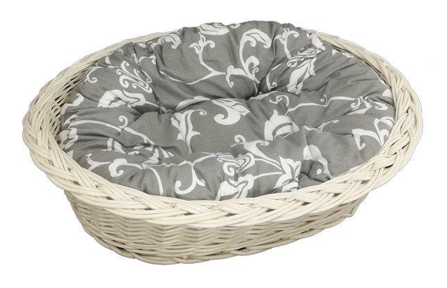 """Zestaw legowisko """"zwykłe"""" ecru 53 cm + poduszka szaro-biała"""