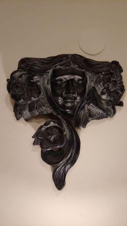 Ozdoba doniczka scienna twarz ceramiczna czarna zielona 2SZT