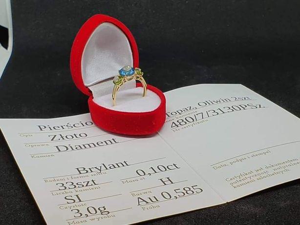 Piękny Złoty Pierścionek z 33 Brylantami 0,1ct Topazem i Oliwinem