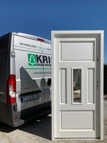 Drzwi zewnętrzne drewniane ocieplane białe DOSTAWA CAŁA POLSKA