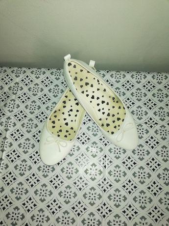 Białe balerinki-r.37 H&M stan bdb
