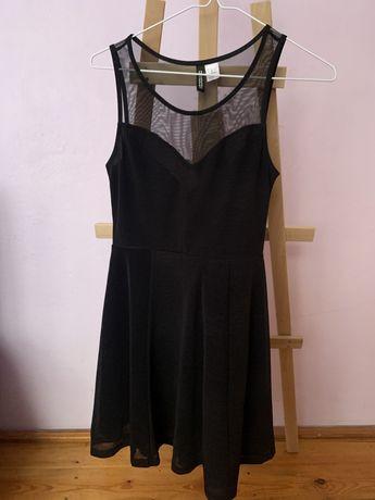 Czarna sukienka z siateczka H&M, roz. XS