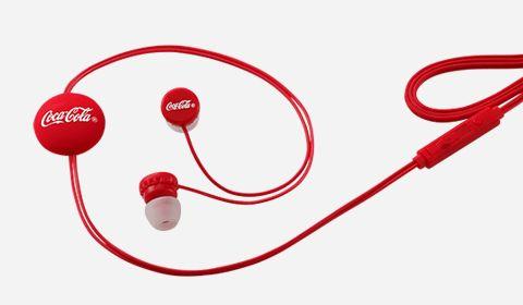 Słuchawki douszne dokanałowe Coca-Cola regulacja głośności i długości