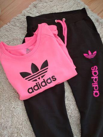 Adidas komplet dresowy dres S M L neon różowy