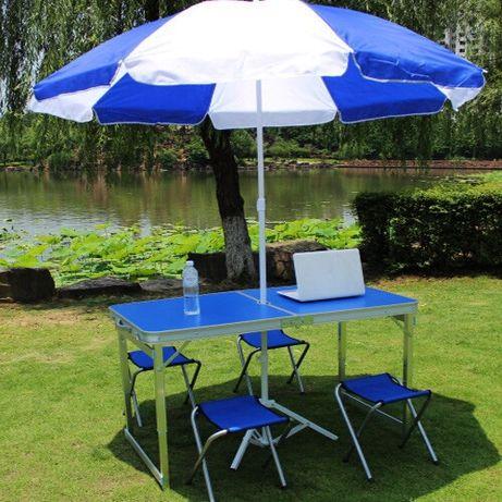 УСИЛЕННЫЙ Стол и ЗОНТ для пикника + 4 стула. Раскладной столик и стуль