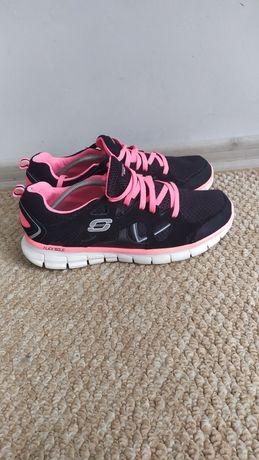 Женские беговые кроссовки Skechers 41 р, черные кросовки сетка 27 см