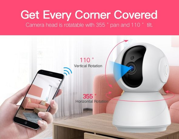 Camera Video Vigilância Visão Noturna 1080P 360º WiFI APP 128GB NOVA