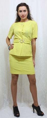 Летний костюм с юбкой лимонный BURVIN, 46. Распродажа