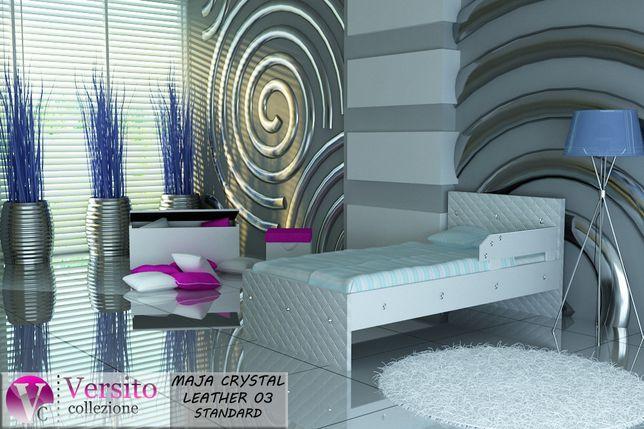 Łóżko dla dziecka+materac,łóżeczko dziecięce biała eko,kryształy-Nysa