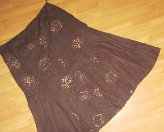 nowa spódnica brązowa/haft przód-tył gładki 40-42 L/XL