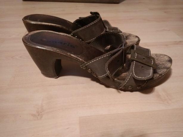 Klapki sandały skórzane Tamaris 38 brązowe klamry skóra