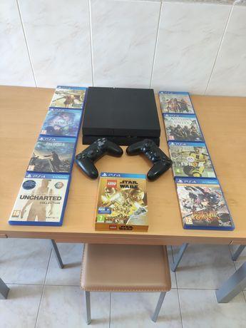 PlayStation 4 500GB + 2 comandos + jogos físicos e digitais