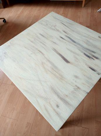 Stół drewniany stolik kawowy odmalowany biały vintage retro