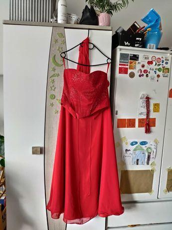 Czerwona suknia balowa spódnica gorset szal 38/40