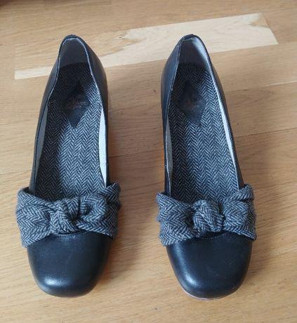 Туфли на устойчивом не высоком каблуке/ кожа+твид/ 38 размер