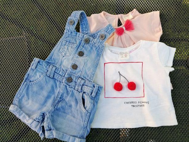 Zestaw koszulki Zara + ogrodniczki rozm. 68, 74