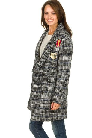 Wełniany Płaszcz kurtka Silvian heach kratka naszywki zara guess deni