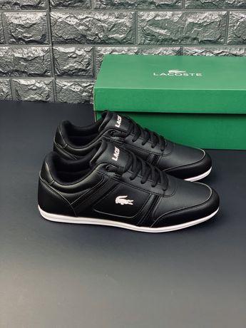 Lacoste кожаные кроссовки мужские лакосте черные кеды кросівки чоловіч