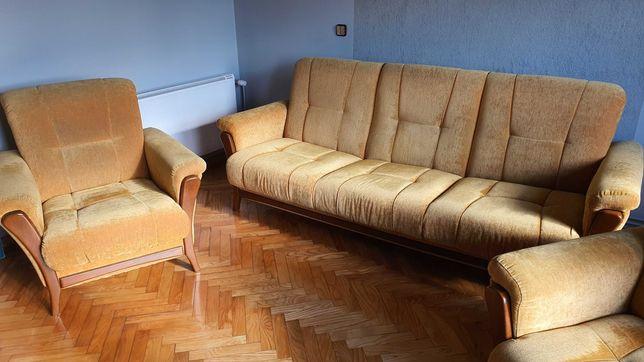 Komplet kanapa rozkładana + 2 fotele