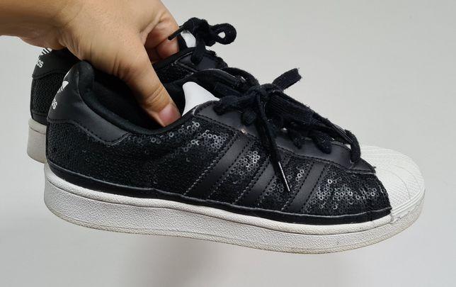 Adidas Superstar damskie 38 2/3 czarne z cekinami