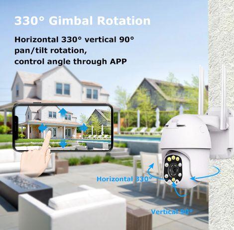 Câmera Vigilancia 3MP 360º 5X ZOOM Prova de Água Exterior Rotativa