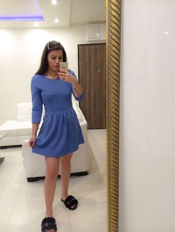 Niebieska rozkloszowana prążkowana sukienka sinsay L XL