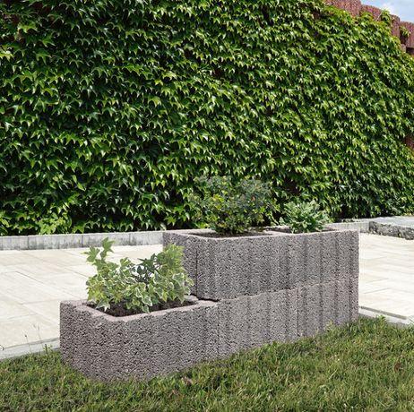 Donica ogrodowa prostokątna mała gazony betonowe kwietnik mur oporowy
