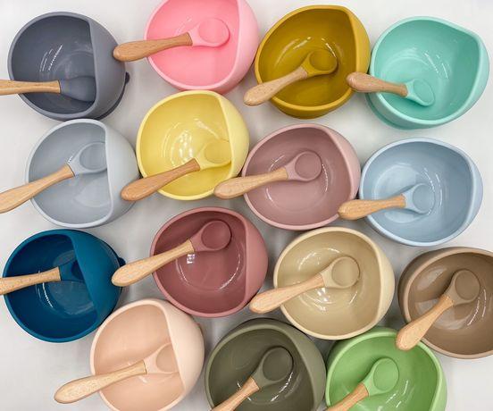 Детская силиконовая тарелка с присоской + ложка