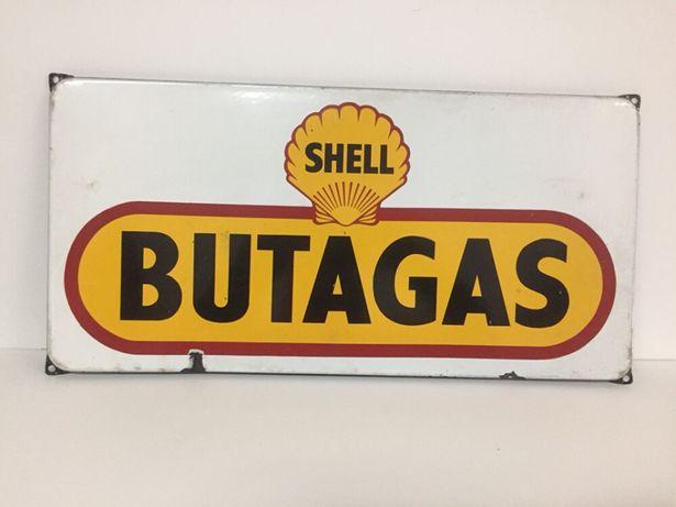 Antiga Placa Esmaltada de Publicidade - Shell Butagas