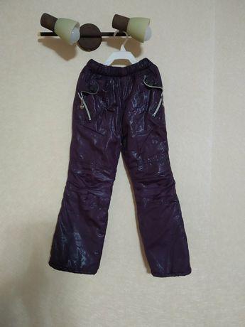 Теплые зимние штаники плащевка на флисе штани штаны полукомбинезон