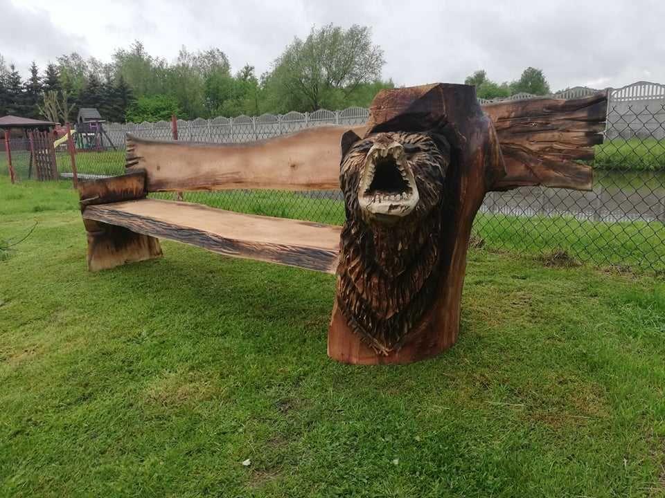 Ławka ogrodowa rzeźba rękodzieło unikat
